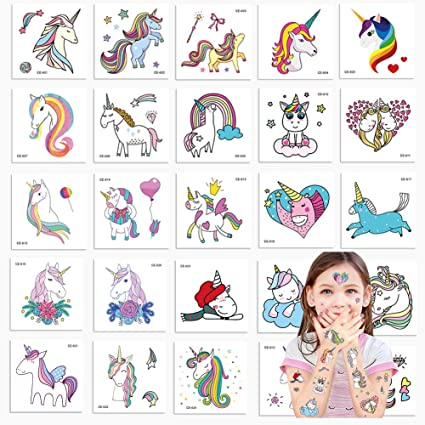 70ecdd12d Amazon.com: Jatidne Unicorn Temporary Tattoos for Kids Birthday Party,  Waterproof Unicorn Tattoo Stencil Unicorn Party Supplies 25 Pieces 2.5