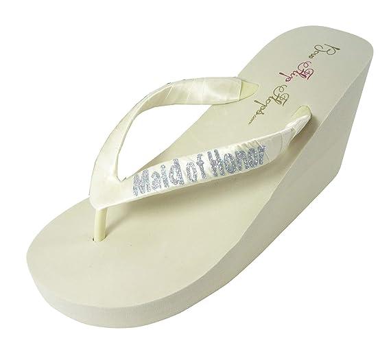 9766fc631b14e Amazon.com: Maid of Honor flip flops - or bridesmaid and bridal ...