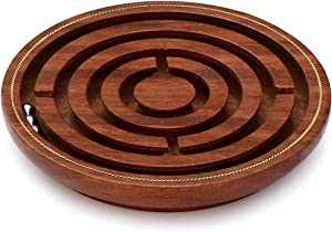 SouvNear SG-NGN-011 Handmade Wooden Labyrinth Board Game in Maze Puzzle with 3 Balls, 5 x 5 x 0.5 inches, Brown