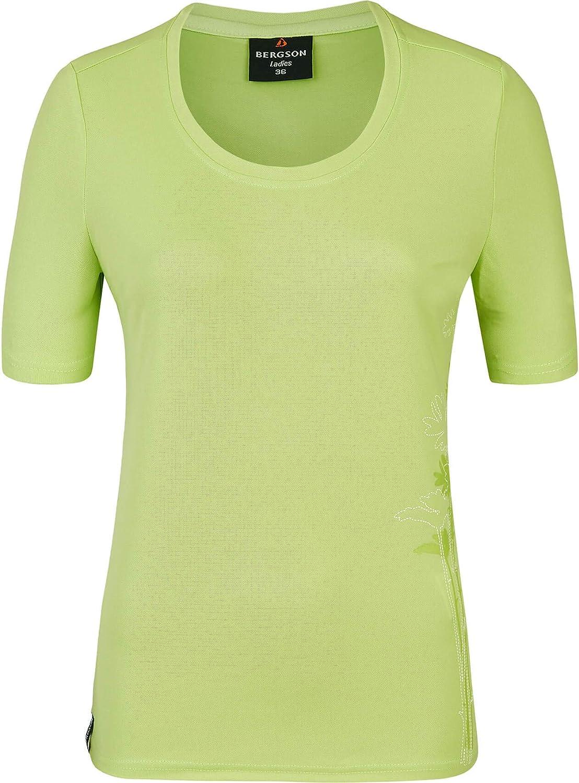 Frontdruck schnelltrocknend Bergson Damen Funktionsshirt EDA Pique-Material Rundhalsausschnitt femininer Schnitt pflegeleicht