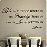 "43"" Bless This Food Before Us The Family Beside Us And The Love Between Us Wall Decal Sticker Art Mural Home Décor Quote"
