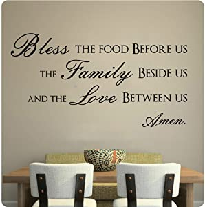 """43"""" Bless This Food Before Us The Family Beside Us and The Love Between Us Wall Decal Sticker Art Home Décor"""