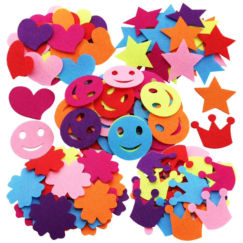 SOOKOO 5 Styles 150 PCS Assorted Color Felt Flowers for Art and Craft DIY Sewing Handcraft (Heart, Flower, Smile Face, Star, Crown) ART-CONFETTI02