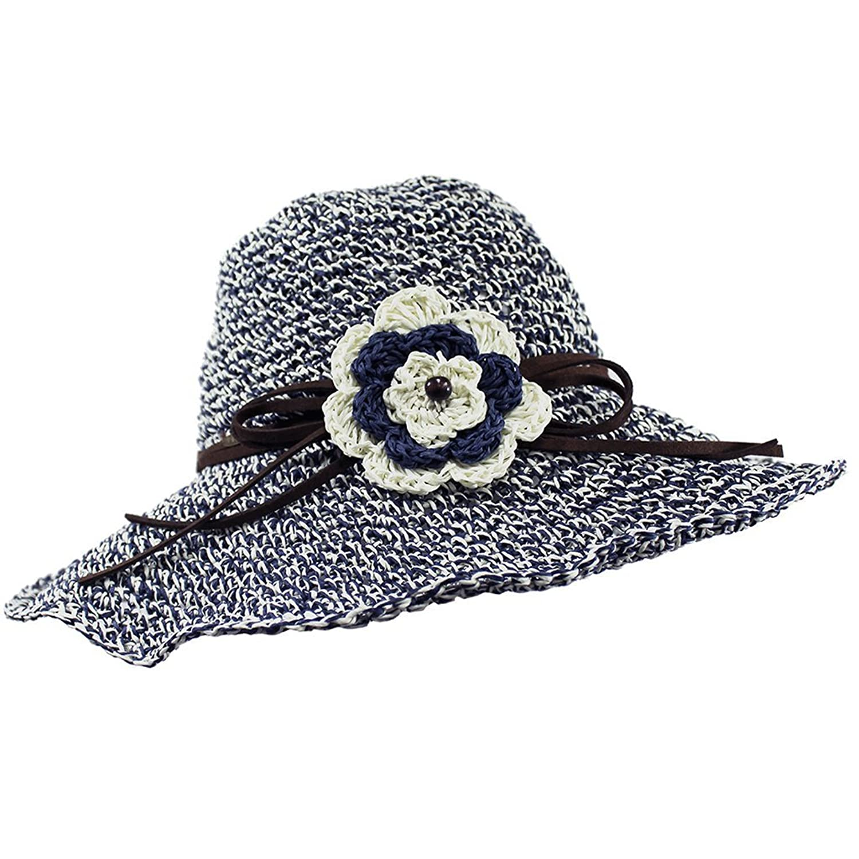 Ginga's Galleria UPF 50+ Adjustable Floppy Woven Crochet Straw Sun Hat w/ Flower