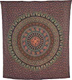 Luna Bazaar Kadi Elephant Mandala Tapestry, Bohemian Wall Hanging and Bedspread (Large, 7 X 8 Feet, Blue, 100% Cotton, Fair Trade Certified)