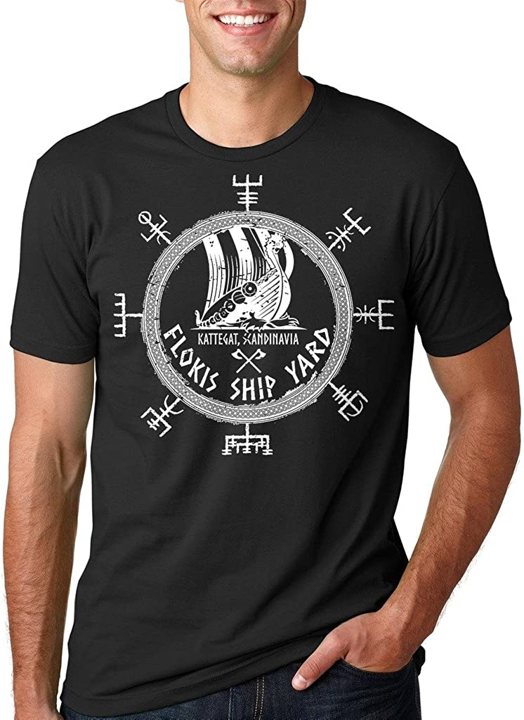 Floki's Shipyard T-Shirt Funny Vikings Valhalla Rune Tee Shirt