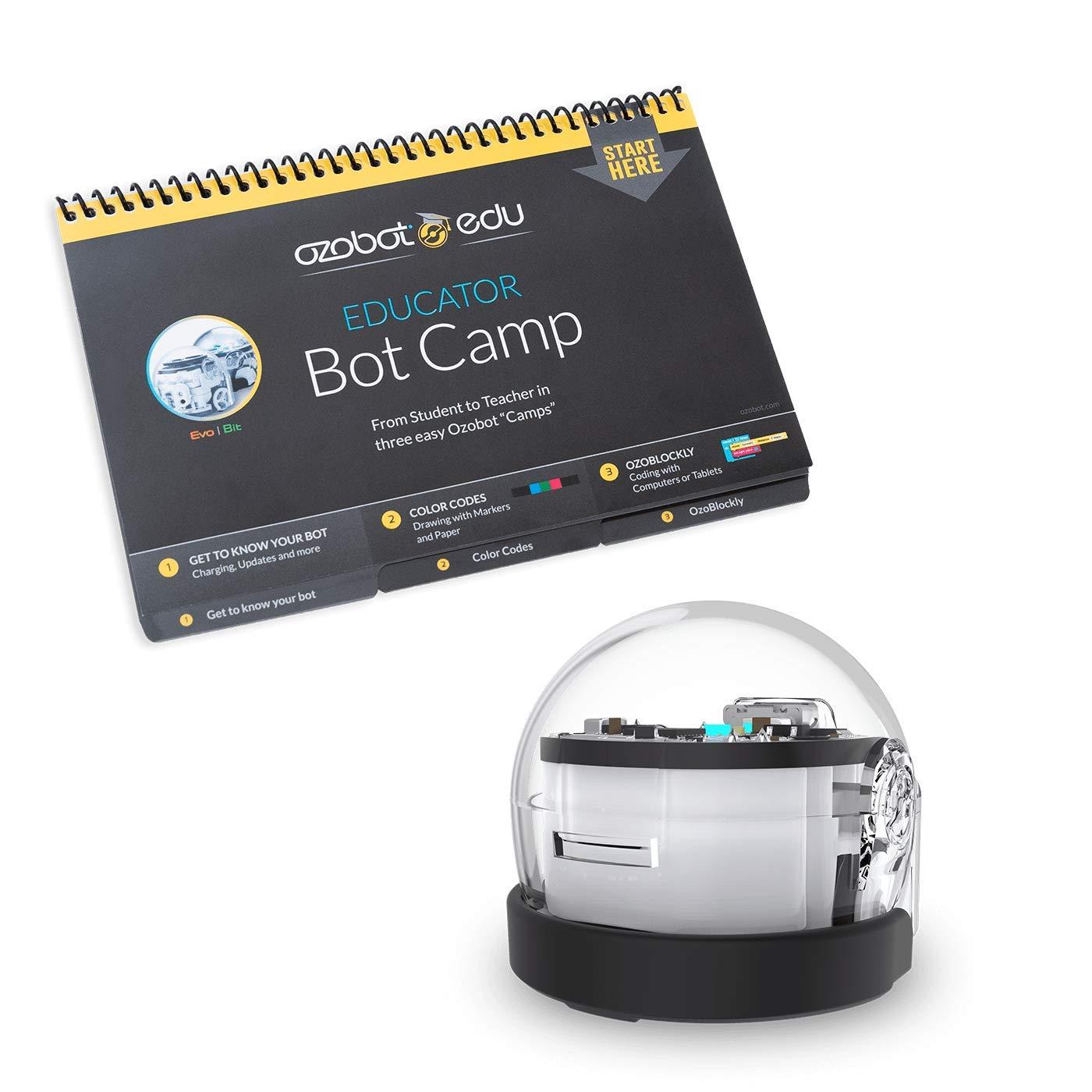 Ozobot Bit Educator Entry Kit - Non-Connected Coding Robot & Teacher Training in 2 Ways to Code - STEM & STEAM for Grades K-12 (White)
