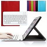 Besmall Tastiera di Lingua Italiana Bluetooth Wireless Rimovibile con Cavo Ricarica USB per Apple iPad Air 2 air2 (numero modello A1566/A1567/A1600)+Custodia Cover Protettiva in Pelle Sintetica -Rosso-XLYP22D-IG