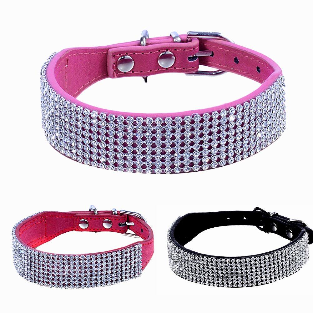 Adjustable Bling Diamante Rhinestone Crystal Pet Puppy Cat Dog Collar PU Leather Pink S