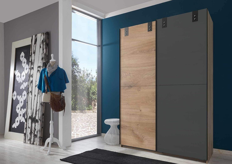 lifestyle4living Armario en imitación de Roble con estantes en Grafito, Puertas correderas con Mucho Espacio de Almacenamiento en Moderno Aspecto Industrial, 135 cm: Amazon.es: Juguetes y juegos
