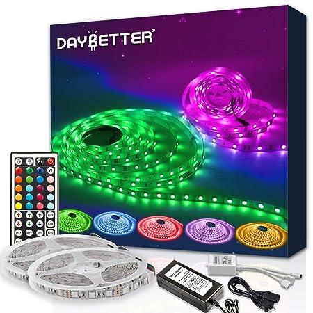 Daybetter Led Strip Lights 600leds 32 8ft With Remote Smd 5050 Color Changing Led Strip Light Kit For Room Kitchen Bedroom Home Decoration Led