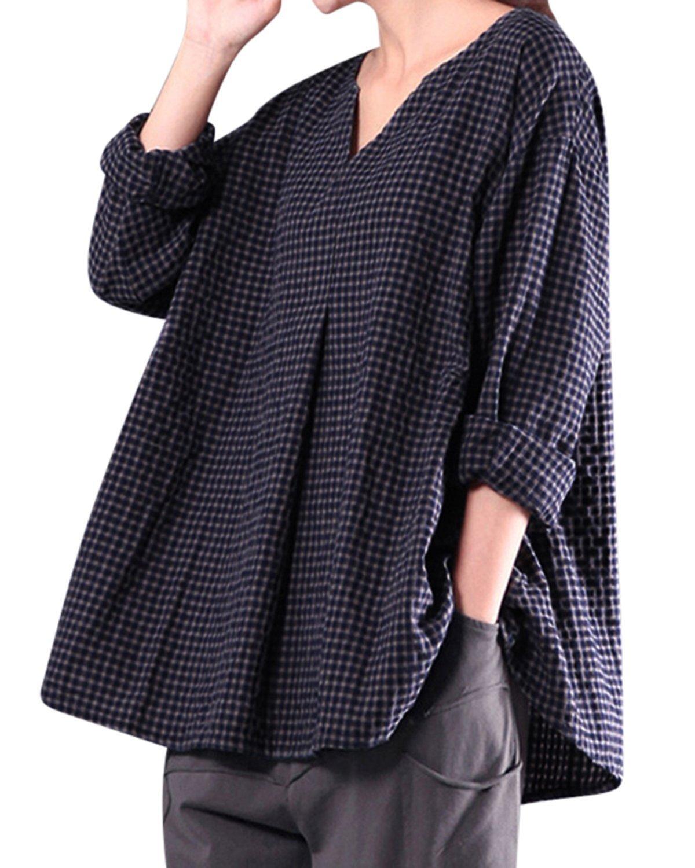 BBYES Womens V Neck Cotton Linen Long Sleeve Plaid Blouse Top Shirt Plus Size Blue 5XL