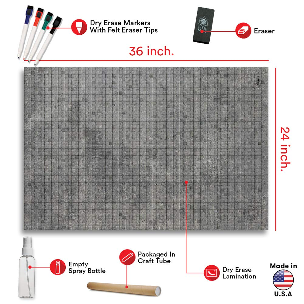 Battle Grid Game Mat - 2 PACK DOUBLE SIDED 36 x 24 - Portable DND RPG Table Top Role Playing Map - Dungeons and Dragons Starter Set - Tabletop Gaming Paper - Reusable Figure Board Game by Melee Mats (Image #5)