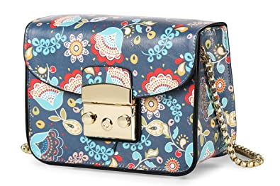 Amazon.com: Impresión floral Mini Cruz Cuerpo Bolsa con ...