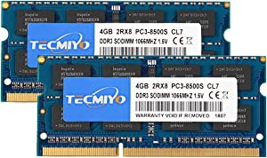 TECMIYO 8GB Kit (2x4GB) DDR3 1066MHz PC3-8500 PC3-8500S Non ECC Unbuffered 1.5V CL7 2RX8 Dual Rank 204 Pin SODIMM Laptop Notebook Computer Memory Ram
