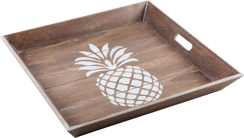 DEI 11508 Carved Wood Tray 15.25 x 11.75 x 2.0 Whitewash//Gold