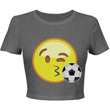 de385e7e8d071 Amazon.com  Emoji Soccer Crop Top  Ladies Slim Fit Crop Top Tee ...