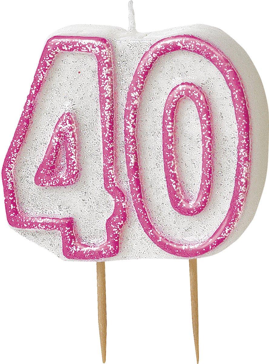 Glitz Pink 40th Birthday Candle
