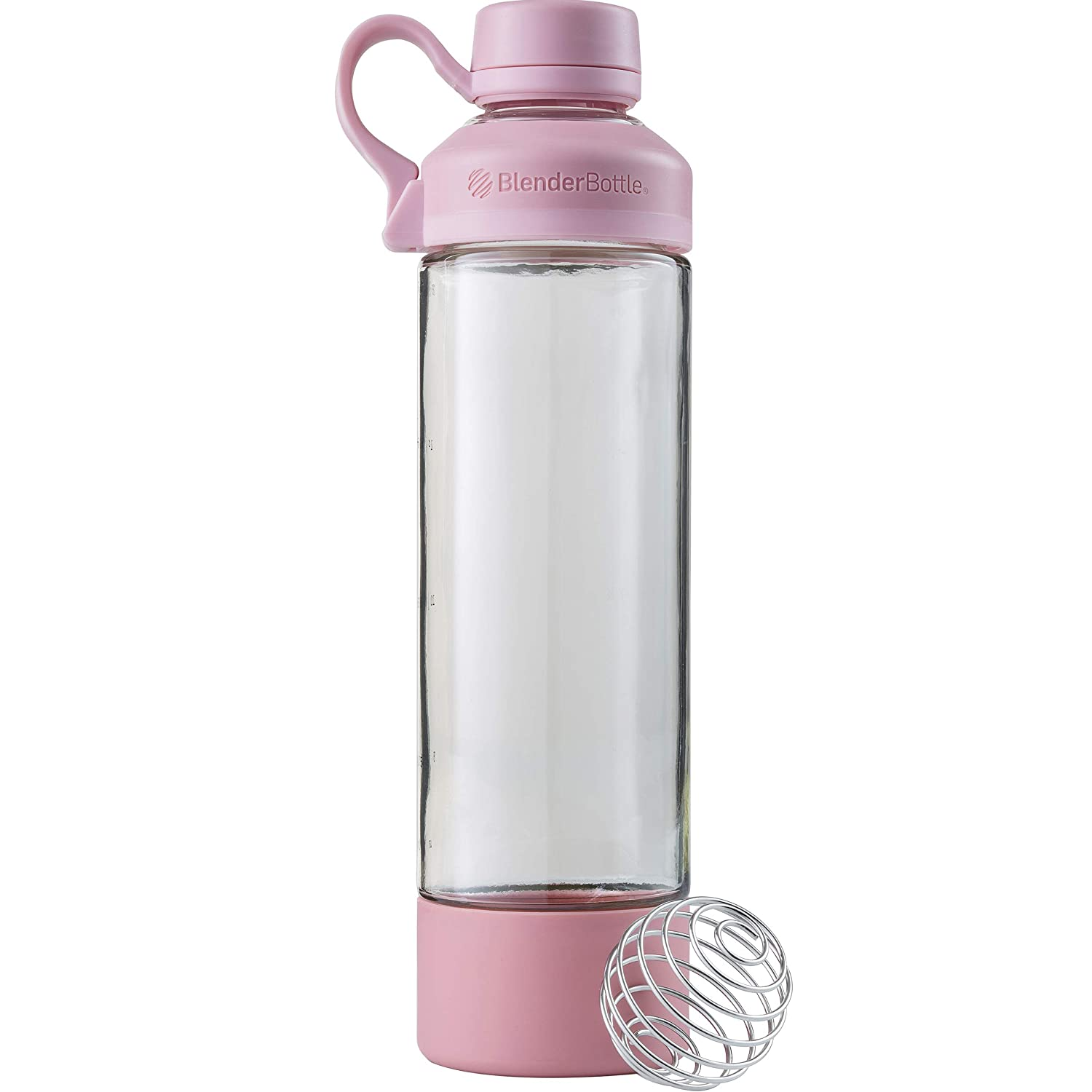 BlenderBottle Mantra Glass Shaker Bottle, 20-Ounce, Rose Pink