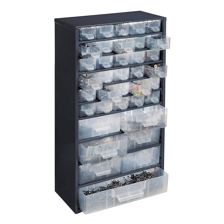 Schubladenmagazin - HxB 551 x 306 mm, 37 Schubladen - tiefschwarz - Klarsichtmagazin Kleinteilemagazin Lagersystem Magazin Schubladenmagazin Certeo
