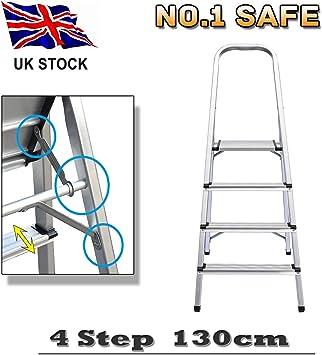 Escalera plegable portátil de 4 peldaños, plegable, compacta, escalera de aluminio ligero para trabajos de bricolaje alrededor de su: Amazon.es: Bricolaje y herramientas