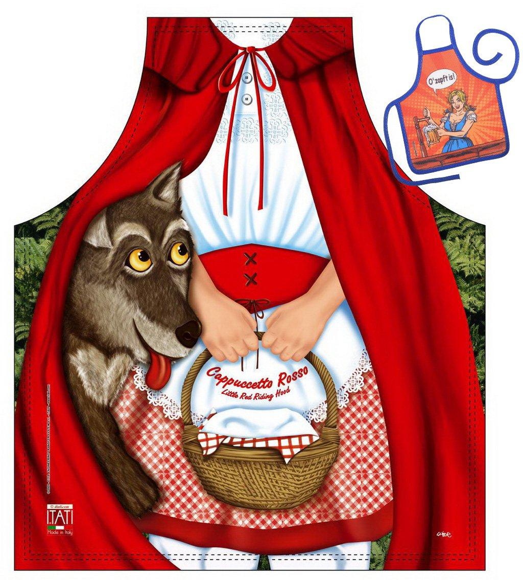 Caperucita Roja y el lobo - Fun Diseño Delantal - con un pequeño mini de delantal como Präsent: Amazon.es: Jardín
