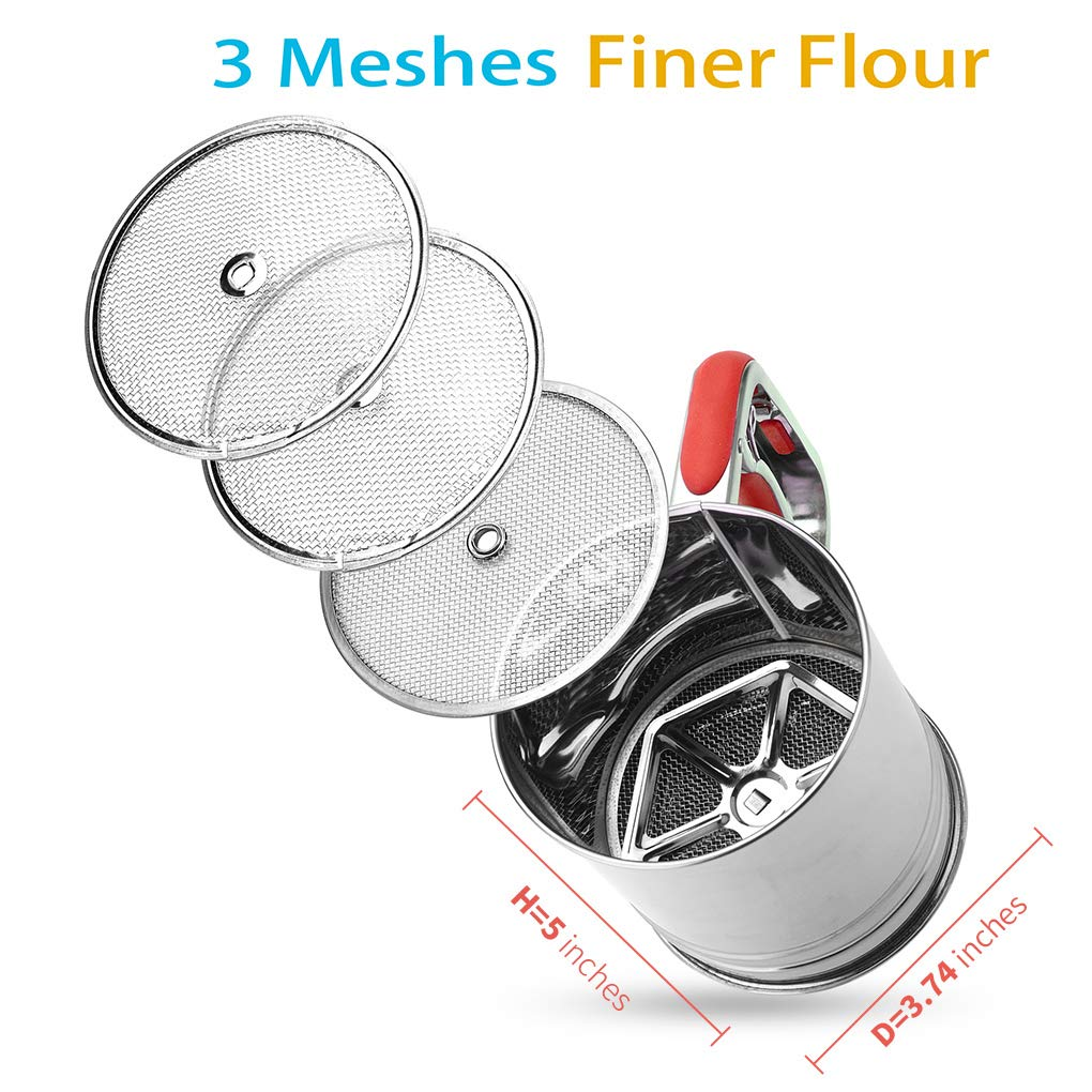 Kitchen aid Flour Sifter One Hand with 3 sifter meshes 3 Cup for Baking by YongLy (Image #3)