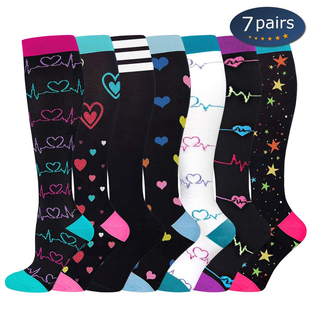 Ritta Compression Socks, Compression Sock Women & Men - 15-20 mmHg is Best Graduated Athletic & Medical for Running, Athletic Sports, Crossfit, Flight Travel (7 Pairs Assorted-1, L/XL) by Ritta (Image #1)