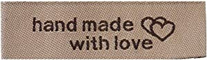 45 Count Sewing Labels Handmade with Love and Interlocking Hearts in Light Coffee 50mm x 15mm