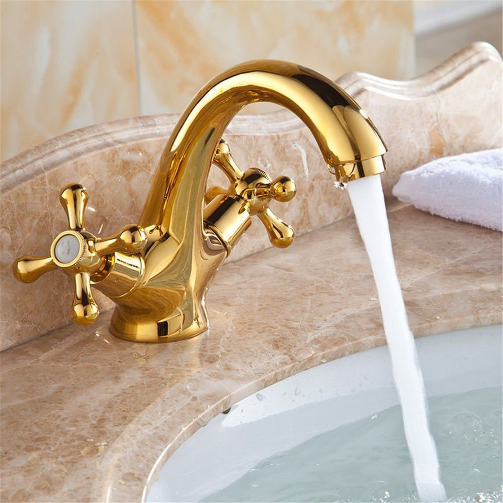 Gyps Faucet Basin Mixer Tap Waterfall Faucet Antique Bathroom Mixer Bar Mixer Shower Set Tap antique bathroom faucet Antique copper basin-wide water tap-tap on the gold and cold water basin,Modern Ba