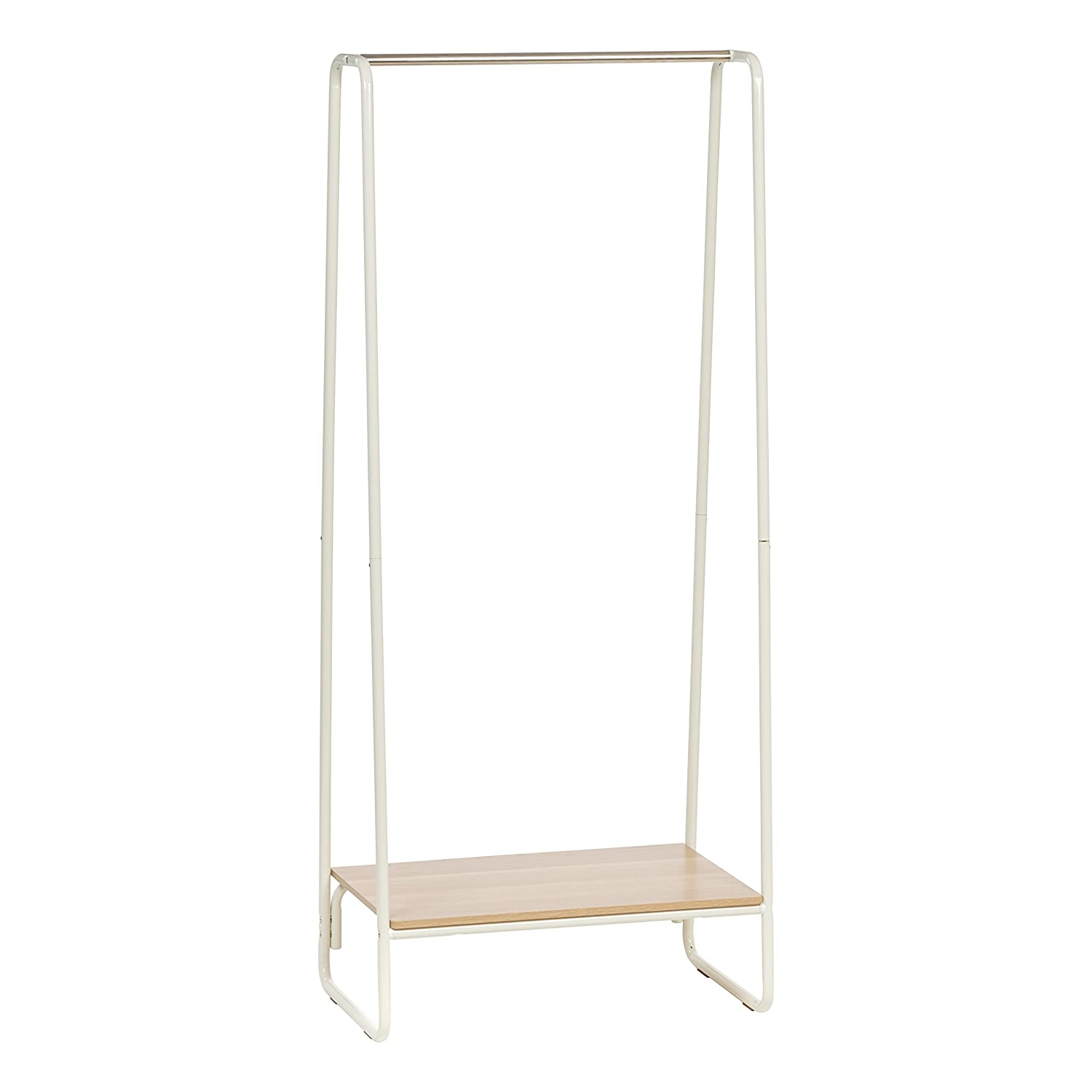 IRIS Metal Garment Rack with Wood Shelf, White and Light Brown IRIS USA Inc. 596237