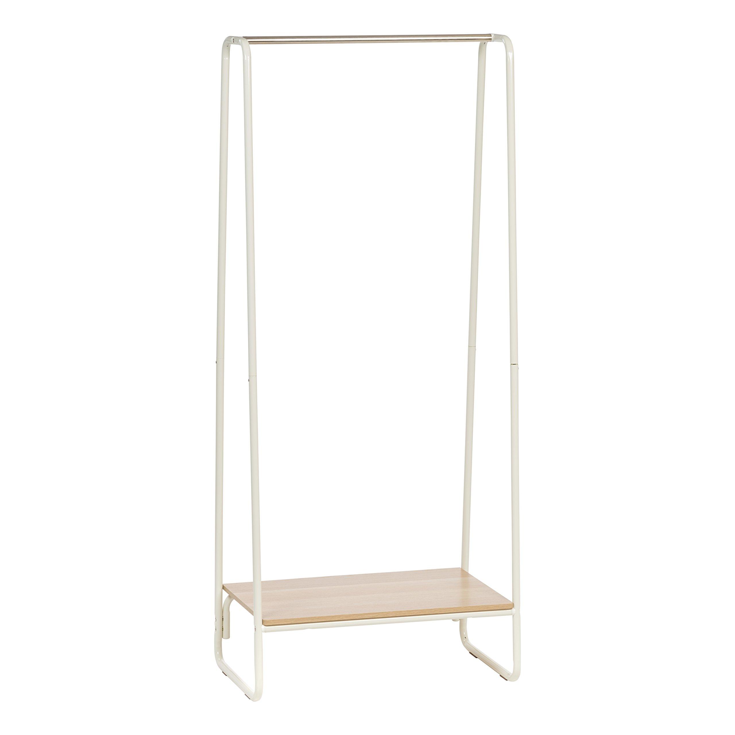 IRIS Metal Garment Rack with Wood Shelf, White and Light Brown