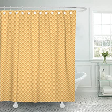 AAoAA Shower Curtains Waffle Wafer Pattern Cone Icecream Biscuit Sweet Candy Curtain 72 X 78