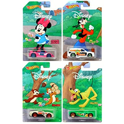 Hot Wheels Disney 90th Anniversary Mickey Mouse 4-Pack Set: Toys & Games