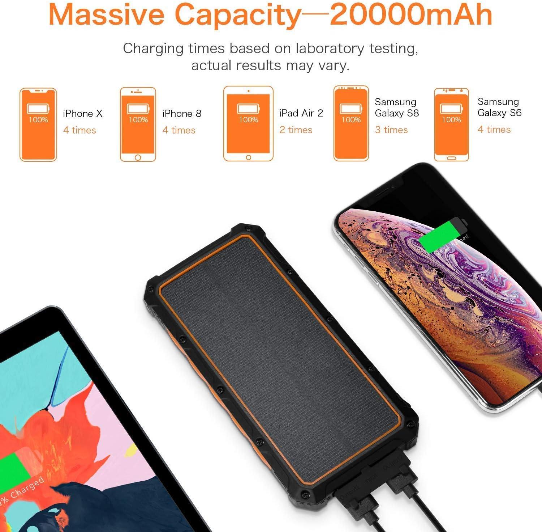 Doppel-5V // 2,1A USB-Anschl/üsse wasserdichte Bewegliche Externe Batterie Mit 3 Faltbare Sonnenkollektoren F/ür Smartphones Usw,Orange Solarstrom-Ladeger/ät Wireless-Solar-Ladeger/ät 20000Mah