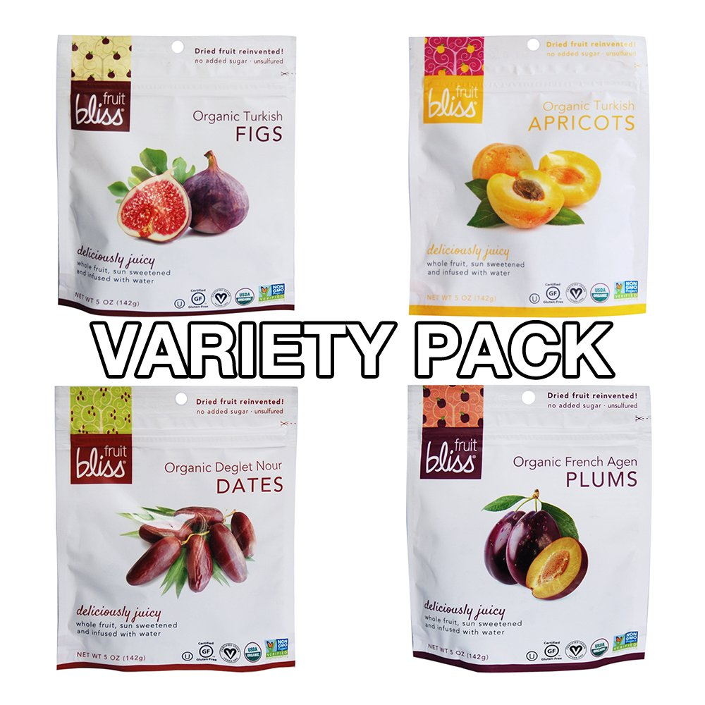 Fruit Bliss, 4 Flavors (Turkish Figs, Turkish Apricots, Deglet Nour Dates, French Agen Plums), Pack of 8 (4 Flavors X 2 Bags), Organic Dried Fruit Assorted Variety Pack, 5 oz (142g)