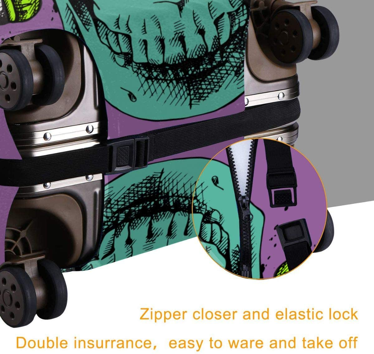 Skull Wearing Headphones and Glasses3 XL Luggage Covers Travel Luggage Cover Spandex Travel Luggage Cover Suitcase Protector Fits 18-32 Inch Luggage Case