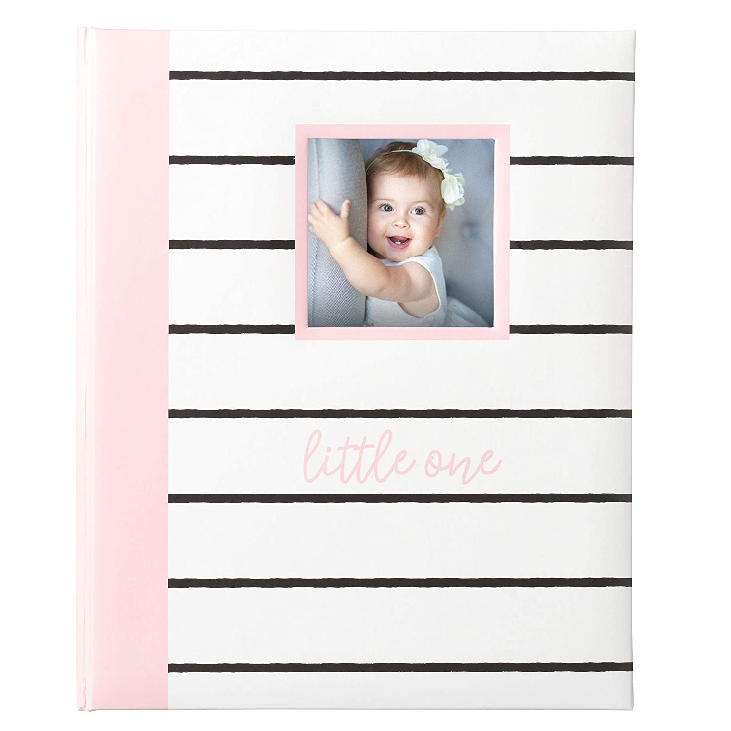 Kate Milo Modern Stripe Baby Book, Capture and Cherish Every Precious Moment Of Your Babys First Years, A Great Baby Registry Addition For Your New Baby, Pink