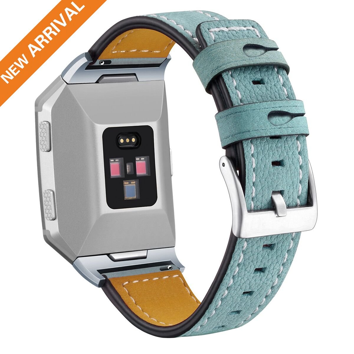 For Fitbit Ionic Band, Genuine Leather Replacement Bands for Fitbit Ionic Straps, Fitbit Ionic Bands Leather Watch Wristband fo Women Men Brown Black Blue Pink, One Size (Small & Large Included)