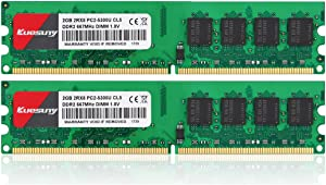 4GB Kit (2GBX2) DDR2 667 DIMM RAM, Kuesuny PC2-5300/PC2-5300U CL5 240-Pin Non-ECC Unbuffered Desktop Memory Modules