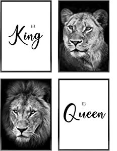Bedroom Wall Decor for Couples | Different Sets Available | Love Wall Art | 4 Unframed Prints for Home and Room Decoration | 8.5x11in | Black and White Poster Set » King Queen Lions «