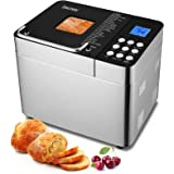 25-in-1 Bread Machine, 2LB Stainless Steel Programmable Bread Maker with Nonstick Ceramic Pan, Button Design, 15H Reserve, 1H