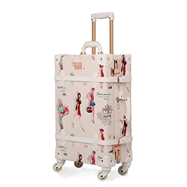 Unitravel Retro Suitcase Vintage Luggage Spinner Wheels PU Women Travel