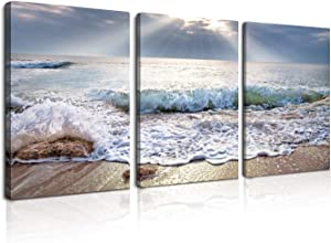 3 Panels Canvas Wall Art - Sunset Waves Beach Blue Large Ocean Seascape Theme for Living Room Bedroom Modern Painting Home Decor Stretched and Framed Ready to Hang