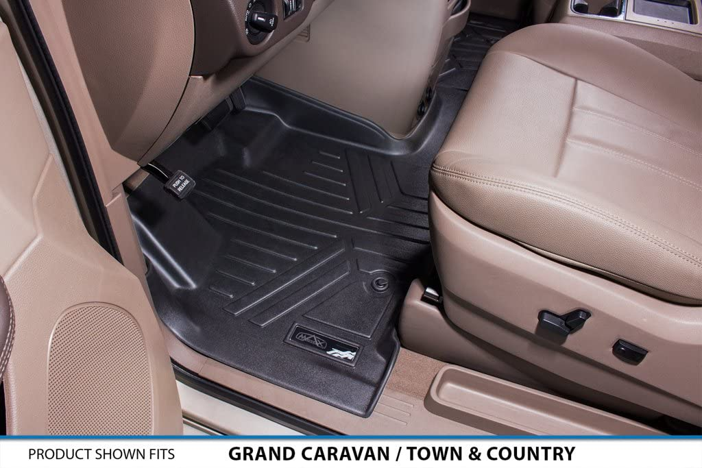 SMARTLINER Custom Fit Floor Mats 1st Row 1 Piece Liner Black for 2008-2019 Dodge Grand Caravan//Chrysler Town /& Country