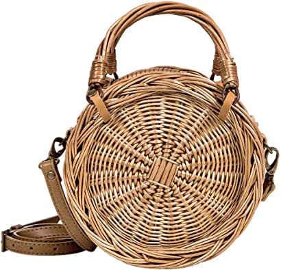 Lefur Wicker Rattan Bag Handmade Crossbody Bag Round Straw Tote for Women with Leather Strap