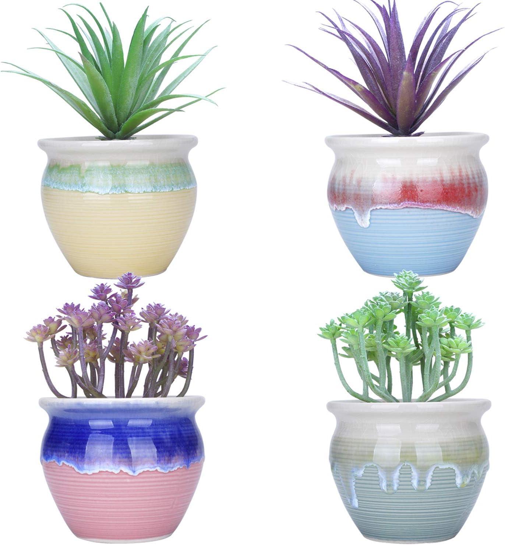 4.5 inch Succulent Planter Pots Small Cactus Plant Pot with Drainage Hole Ceramic Flower Containers Mini Garden Bonsai Pots for Indoor Plants, Set of 4