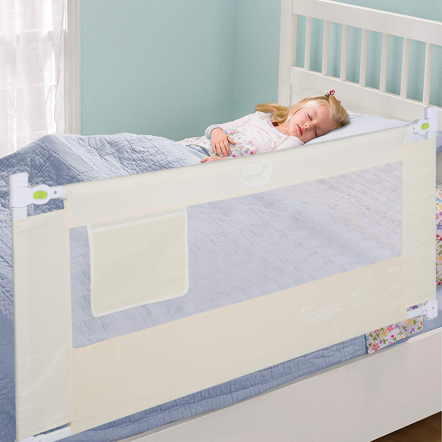 Bed Rail Foldable Toddlers Safety Bed Rail Buckle with Lockable for Toddler Baby and Children Beige 2m