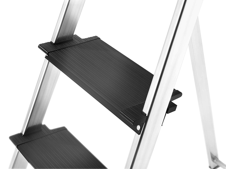 Plattformverriegelung und 130 mm extra tiefe Stufen mit Multifunktions-Schale Hailo 8050-307 L100 TopLine Alu-Sicherheits-Stehleiter 3 Stufen Sicherheits-Halteb/ügel
