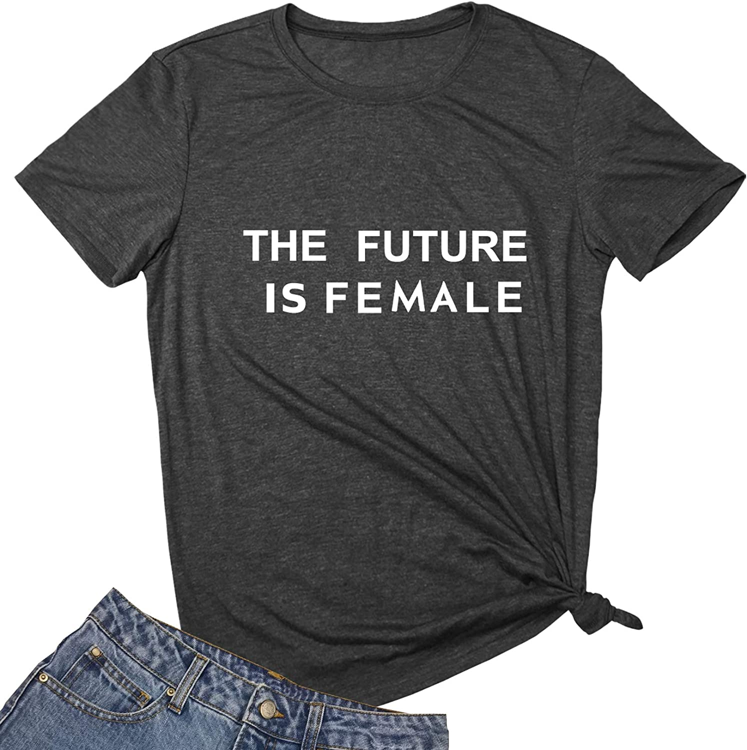 MAXTREE Women Graphic T Shirts The Future is Female Tees
